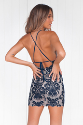 dress,lace,mini,navy,blue,nude,backless,cocktail dress
