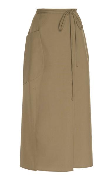 Christopher Esber Apron Twill Wrap Skirt in green