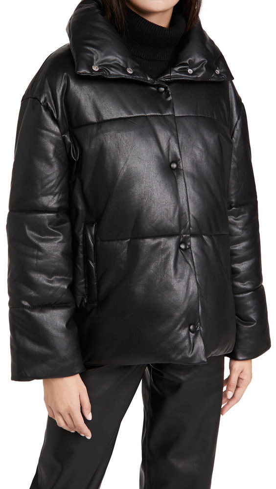 Avec Les Filles Faux Leather Puffer Jacket in black