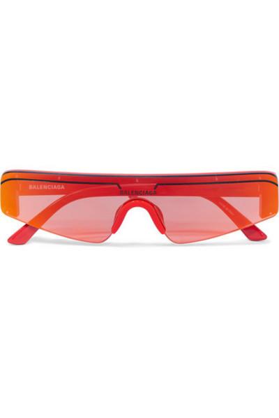 Balenciaga - Ski Square-frame Acetate Mirrored Sunglasses in red