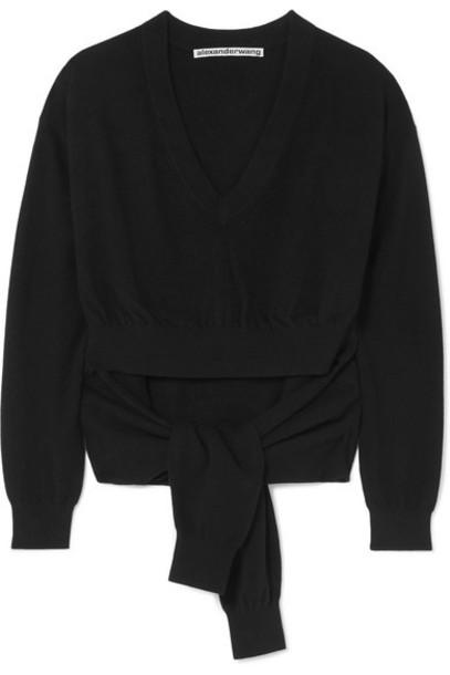 Alexander Wang - Tie-detailed Cutout Wool-blend Sweater - Black