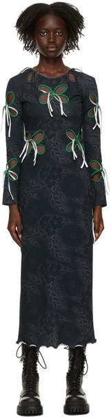 J.KIM SSENSE Exclusive Navy Floral Dress in black / print