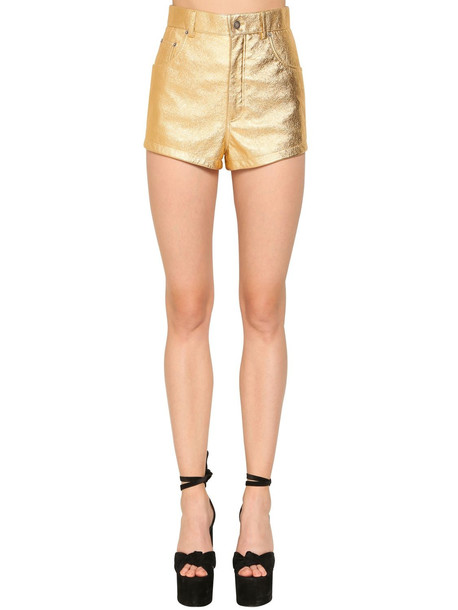 SAINT LAURENT High Waist Leather Shorts in gold