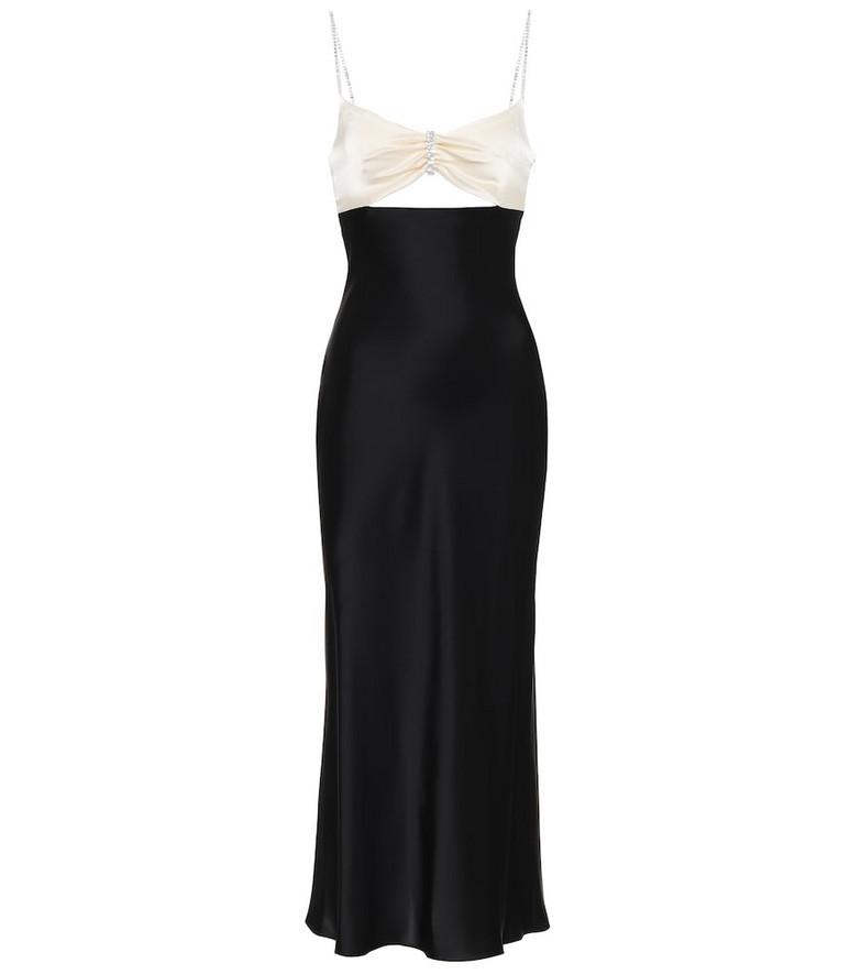 David Koma Embellished cut-out satin slip dress in black