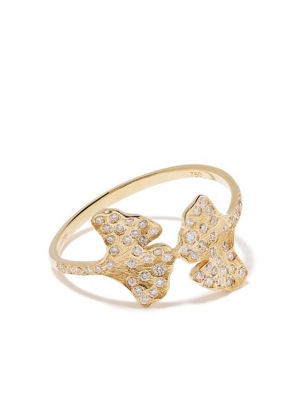 Aurelie Bidermann 18kt yellow gold Ginkgo diamond ring