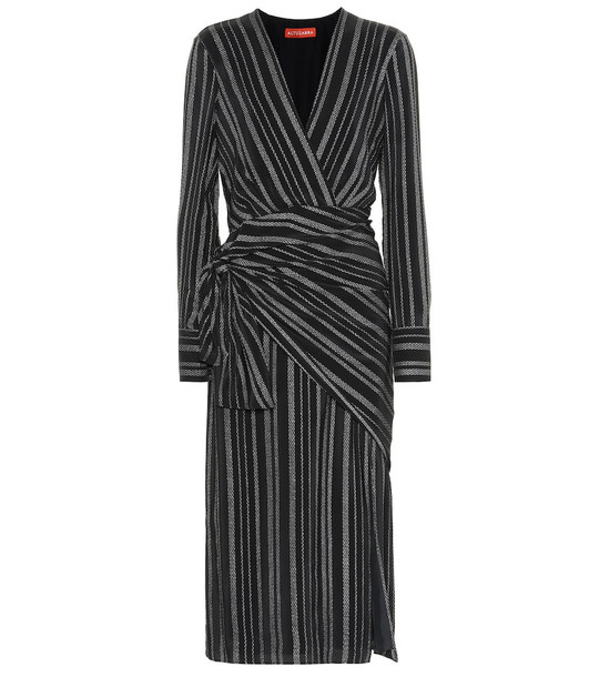 Altuzarra Sparks striped silk-blend dress in black