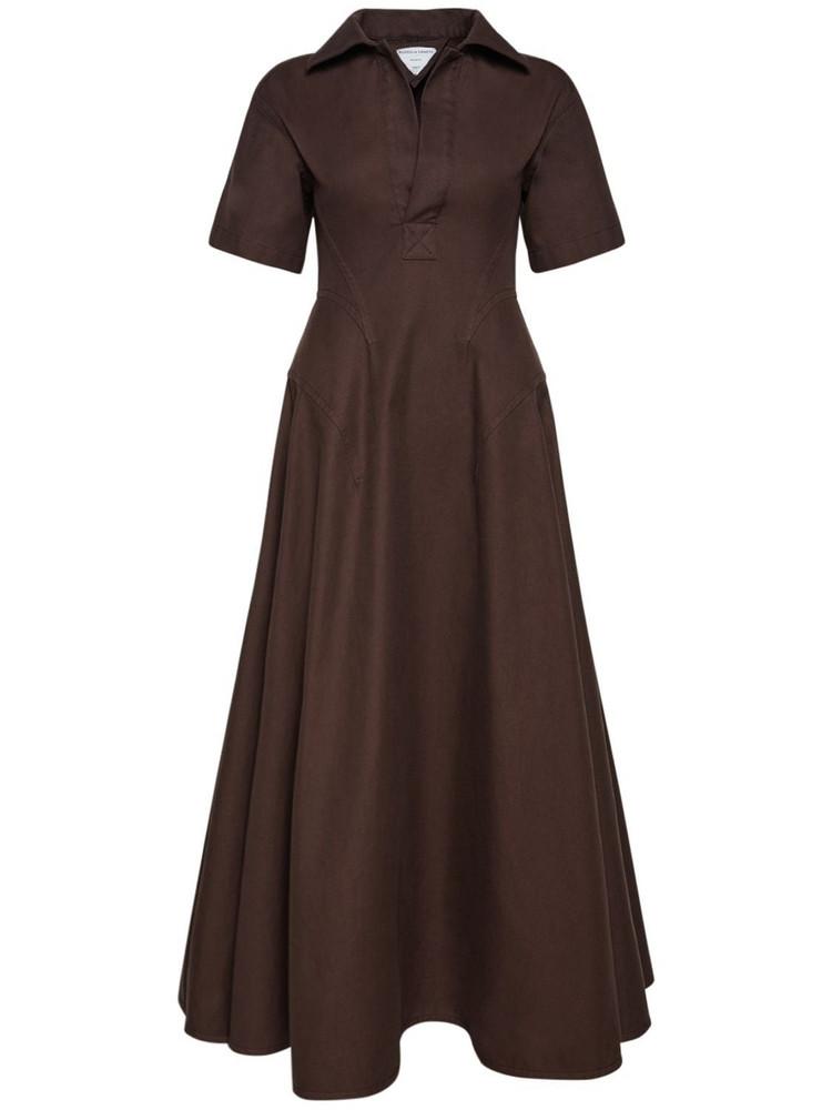 BOTTEGA VENETA Knotted Cotton Twill Midi Dress in brown