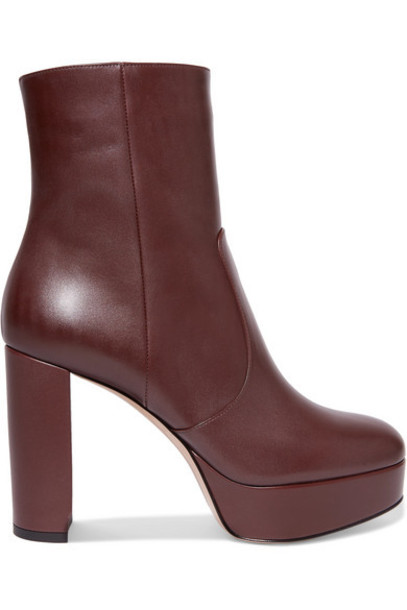 Gianvito Rossi - Leather Platform Ankle Boots - Burgundy