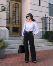 top,blouse,polka dots,stripes,blue blouse,black pants,wide-leg pants,pumps,black bag,shoulder bag,black belt