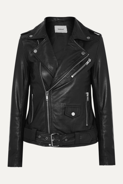 Deadwood - Classic Biker Leather Jacket - Black