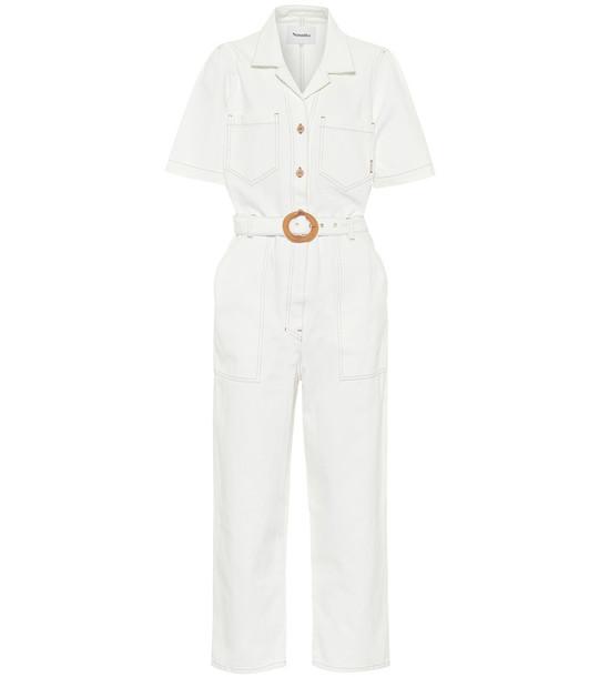 Nanushka Arlo denim jumpsuit in white