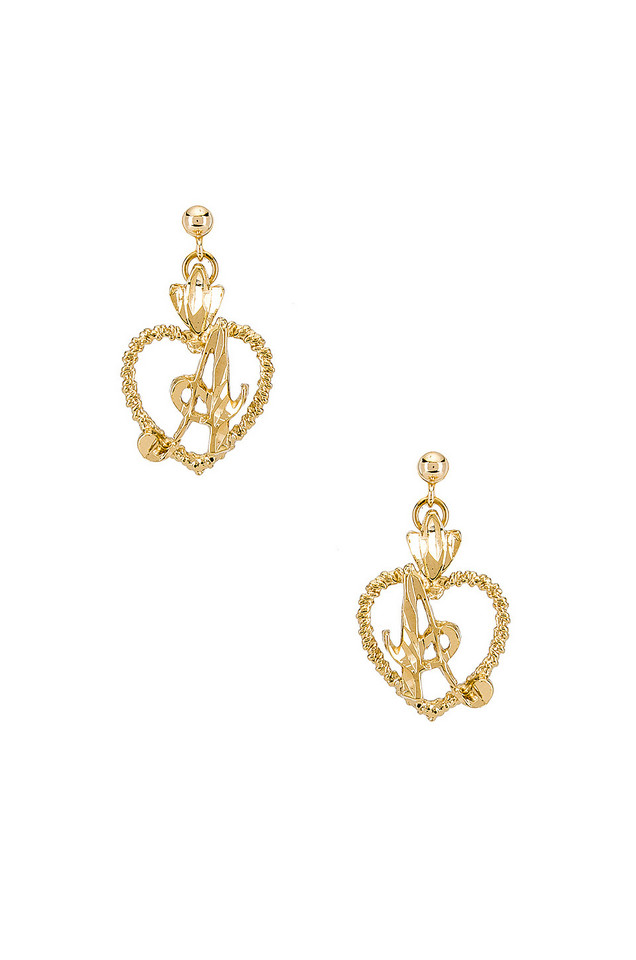 Vanessa Mooney The Sweetheart A Initial Earrings in gold / metallic