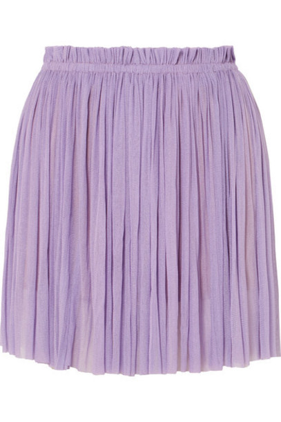 Elena Makri - Antigone Pleated Silk-tulle Mini Skirt - Lilac