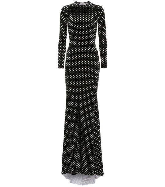 Balenciaga Polka-dot velvet maxi dress in black