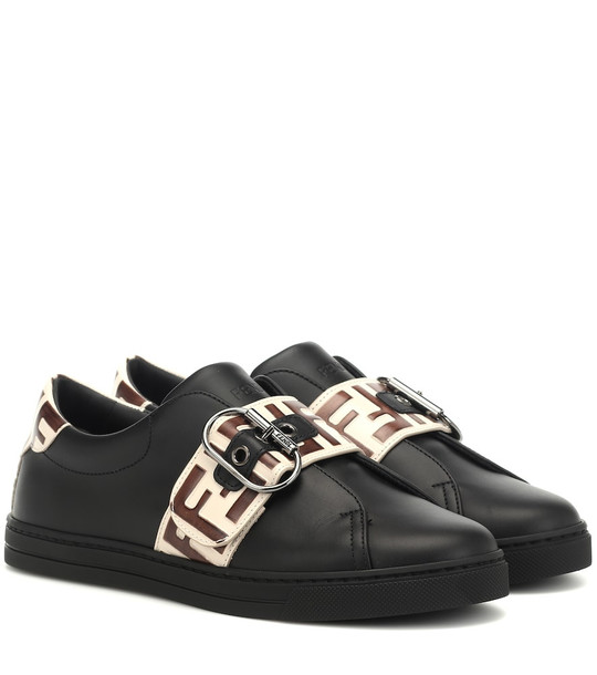 Fendi Logo leather sneakers in black