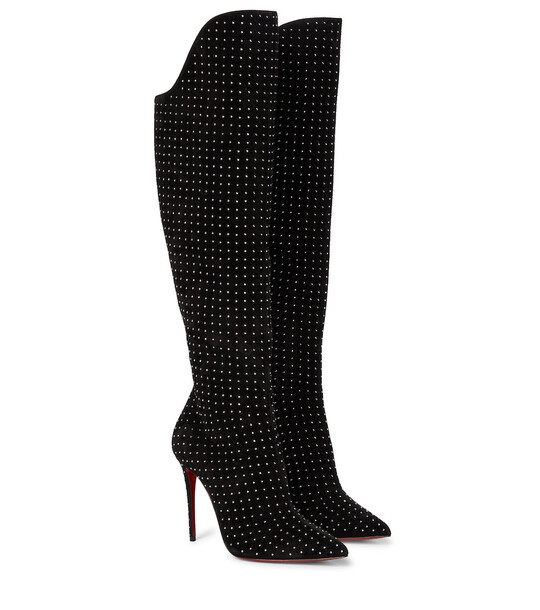 Christian Louboutin Alta Botta Plume 100 suede knee-high boots in black