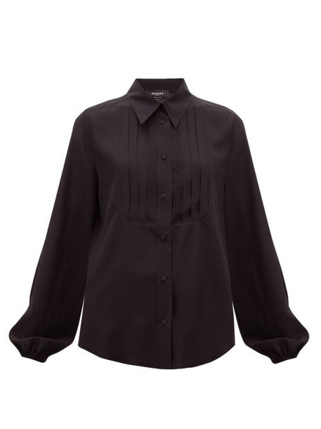 Rochas - Pintucked-front Silk Blouse - Womens - Black
