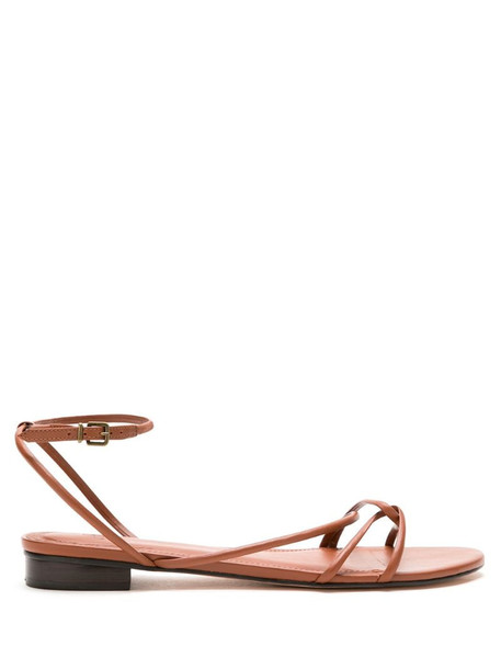 Nk leather flat sandals in brown