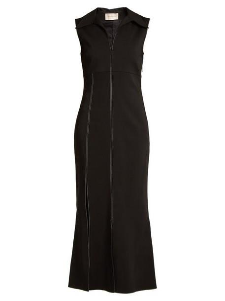 Christopher Kane - Point Collar Contrast Stitch Cady Dress - Womens - Black