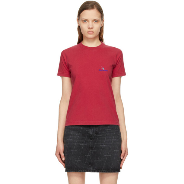 Balenciaga Red Embroidered Logo Small Fit T-Shirt in blue