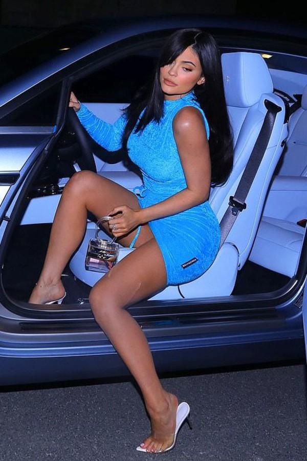 dress mini dress bodycon dress kylie jenner kardashians blue dress one shoulder dress asymmetrical dress