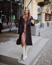 coat,black coat,long coat,white boots,knee high boots,heel boots,midi skirt,asymmetrical skirt,black bag,top