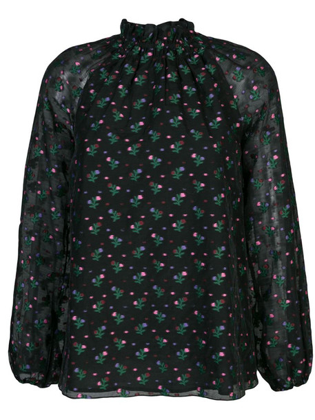 Cynthia Rowley florence smocked neck blouse in black