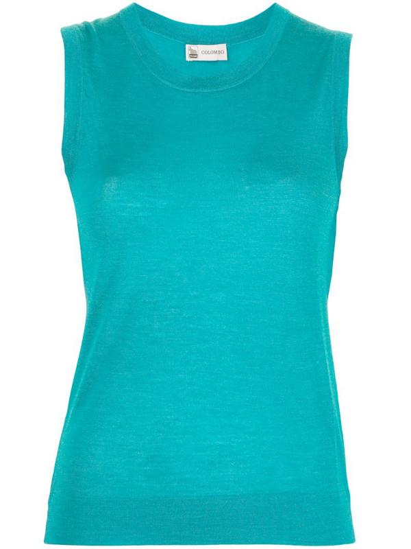 Colombo silk-cashmere blend fine knit vest in blue