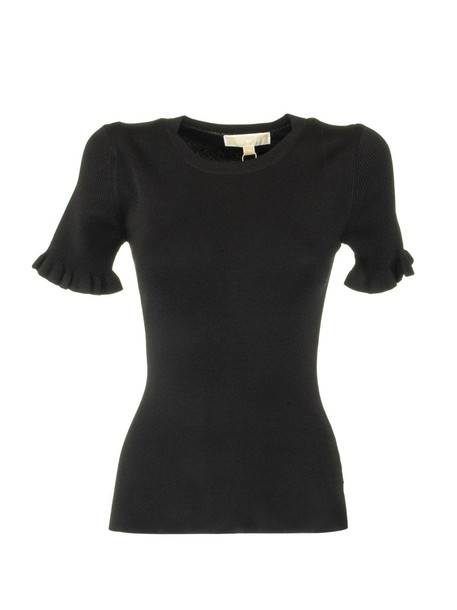 Michael Kors Ribbed Stretch-viscose Ruffle Sweater in black