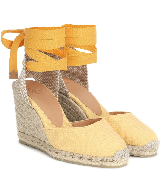 Castañer Carina canvas wedge espadrilles in yellow