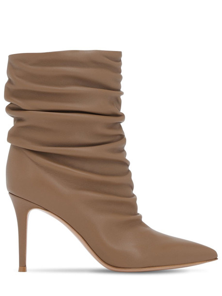 GIANVITO ROSSI 85mm Cecile Slouched Leather Ankle Boots in camel