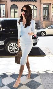 dress,light blue,amal clooney,midi dress,jacket,cropped jacket,work outfits