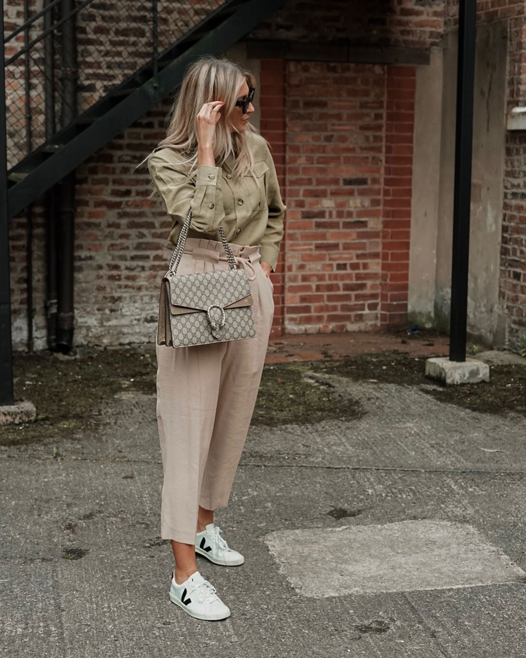 pants high waisted pants white sneakers gucci bag shirt casual