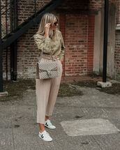 pants,high waisted pants,white sneakers,gucci bag,shirt,casual