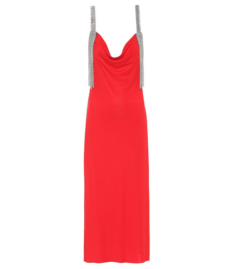 Christopher Kane Embellished technical-jersey dress in red