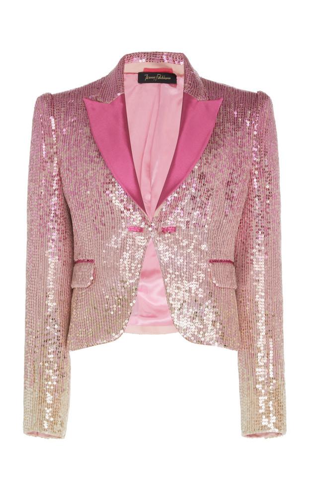 Jenny Packham Cira Satin-Trim Sequined Blazer in pink