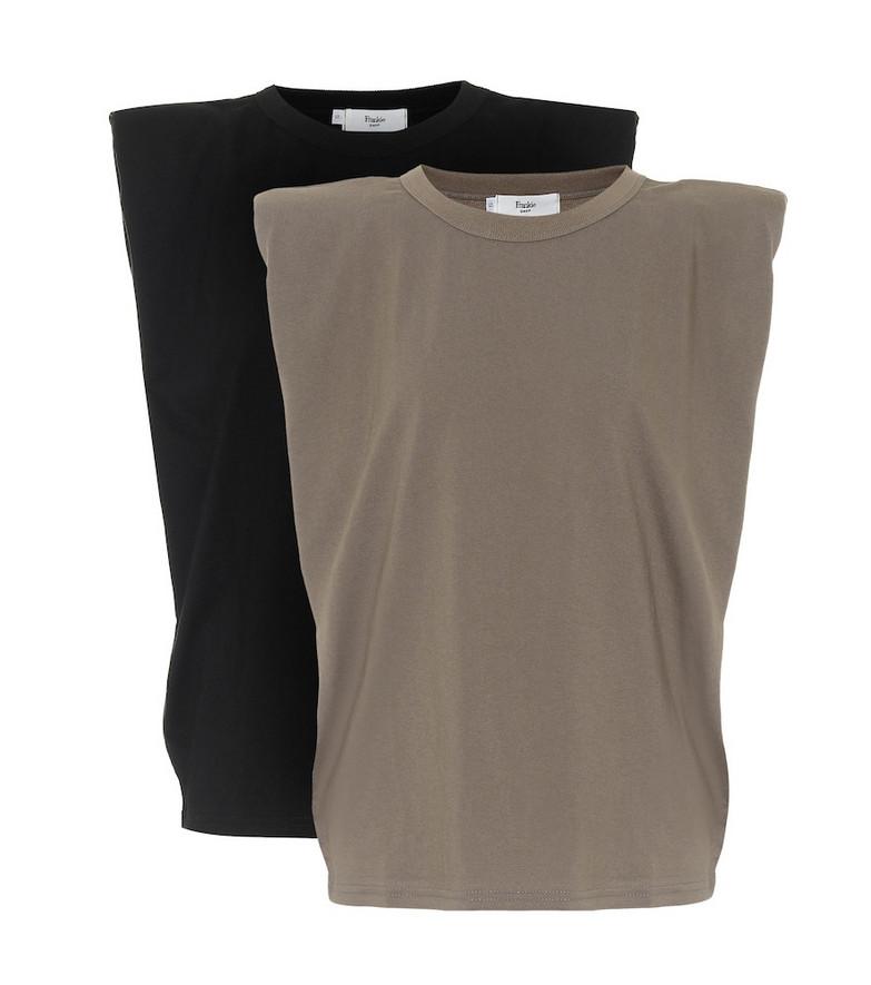 Frankie Shop Eva set of 2 cotton tank tops in black