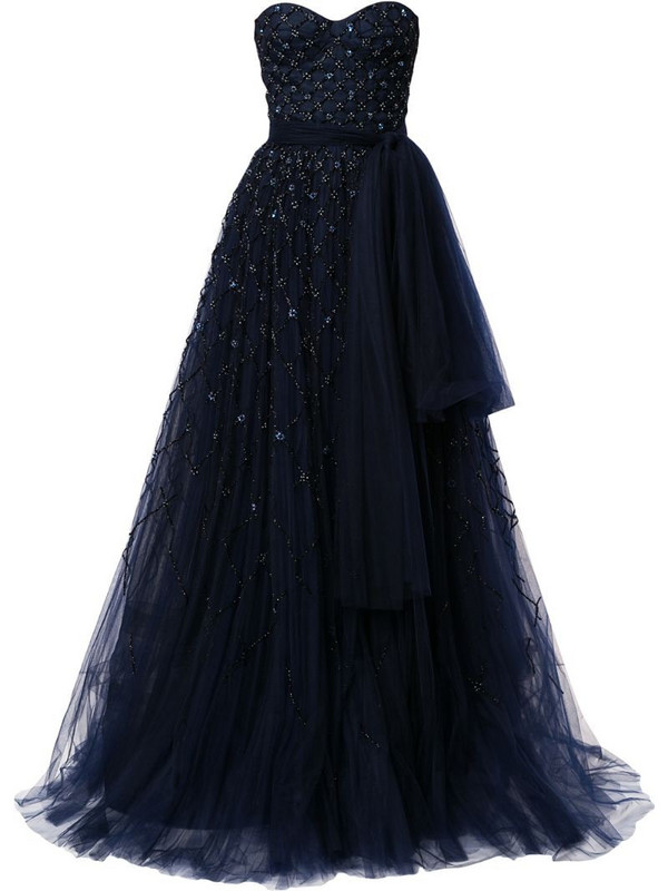 Carolina Herrera bead-embellished strapless gown in blue