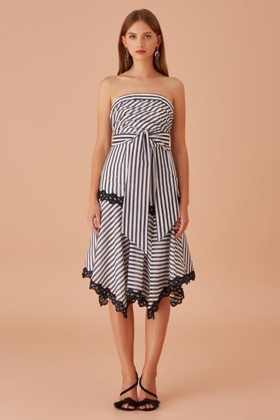 KEEPSAKE GUARDIAN MIDI DRESS navy stripe