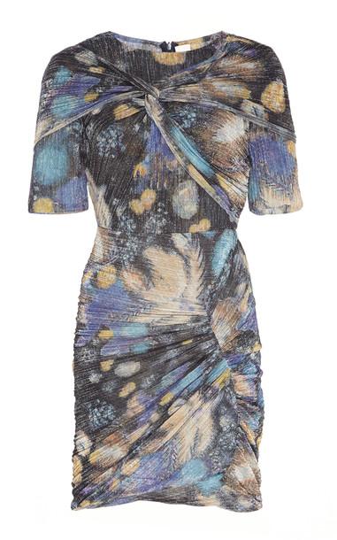 Peter Pilotto Printed Metallic Jersey Twist Dress in multi