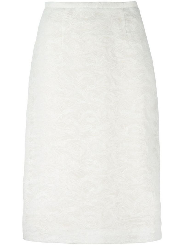 Jean Louis Scherrer Pre-Owned embroidered pencil skirt in white