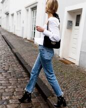 jeans,straight jeans,shoes,black boots,heel boots,cropped jeans,black bag,gucci bag,white blouse