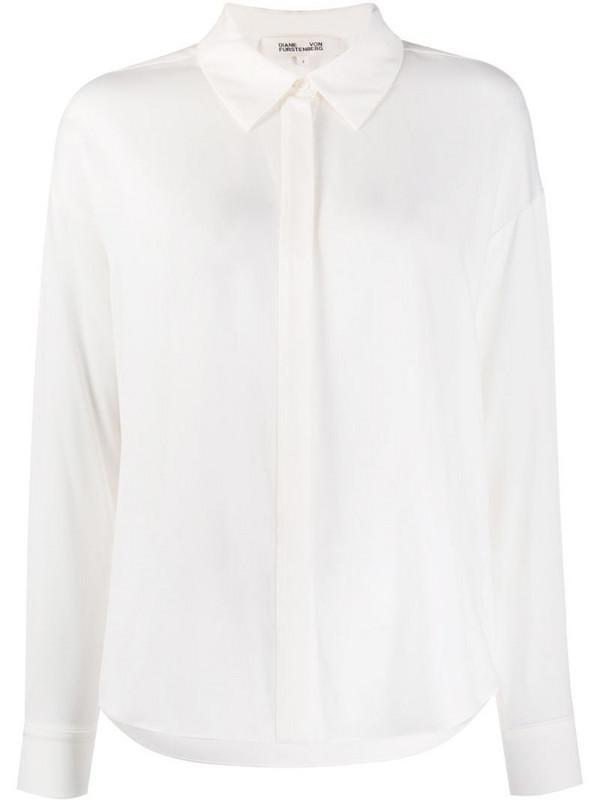 DVF Diane von Furstenberg long sleeve silk blouse in neutrals