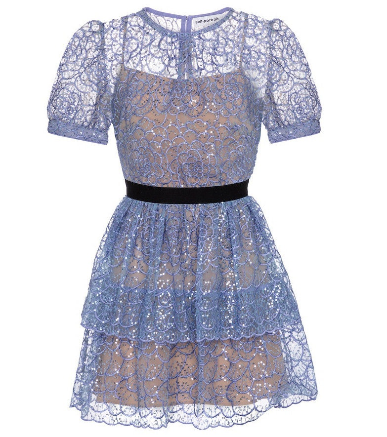 Self-Portrait Floral-lace sequined minidress in blue