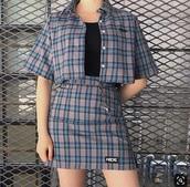 shirt,plaid,crop tops,cute,korean fashion