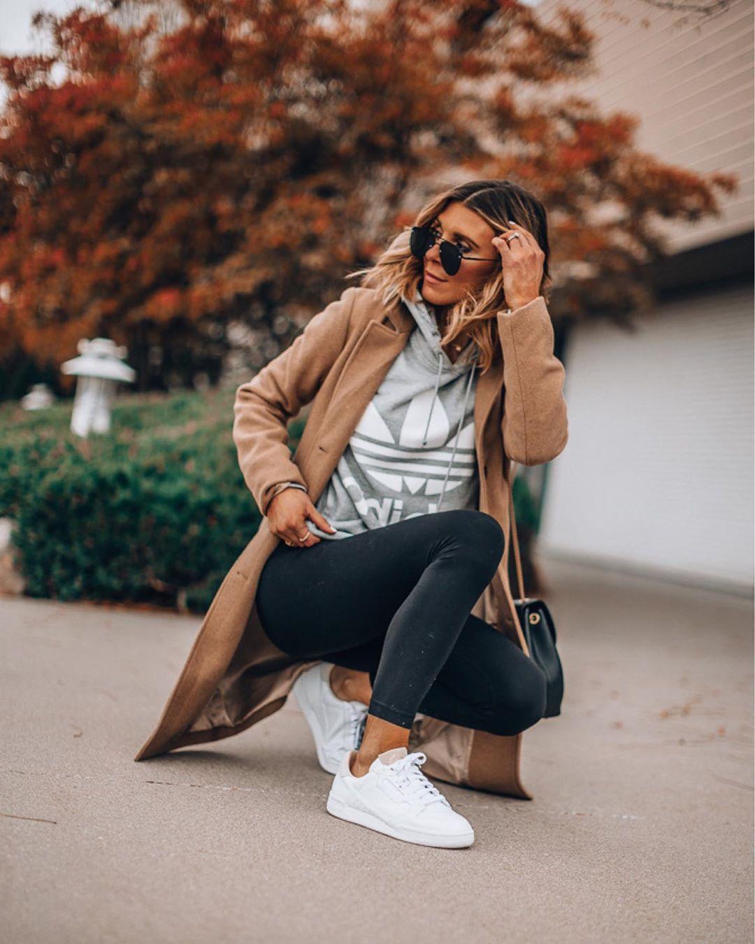 sweater hoodie black leggings white sneakers adidas coat black bag