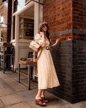 dress,midi dress,free people,belted dress,sandal heels,bag