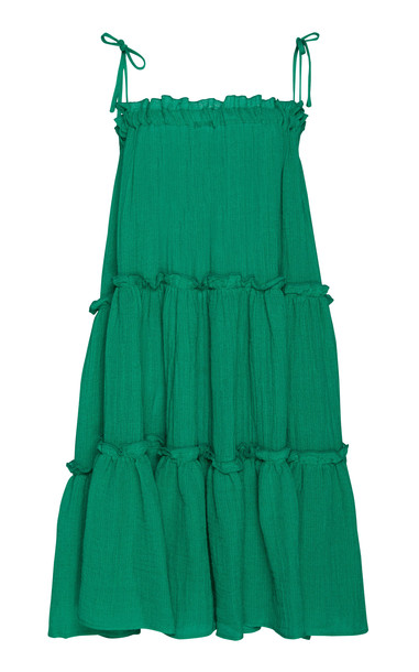 Lisa Marie Fernandez Drop-Shoulder Tiered Ruffled Linen-Blend Dress Si