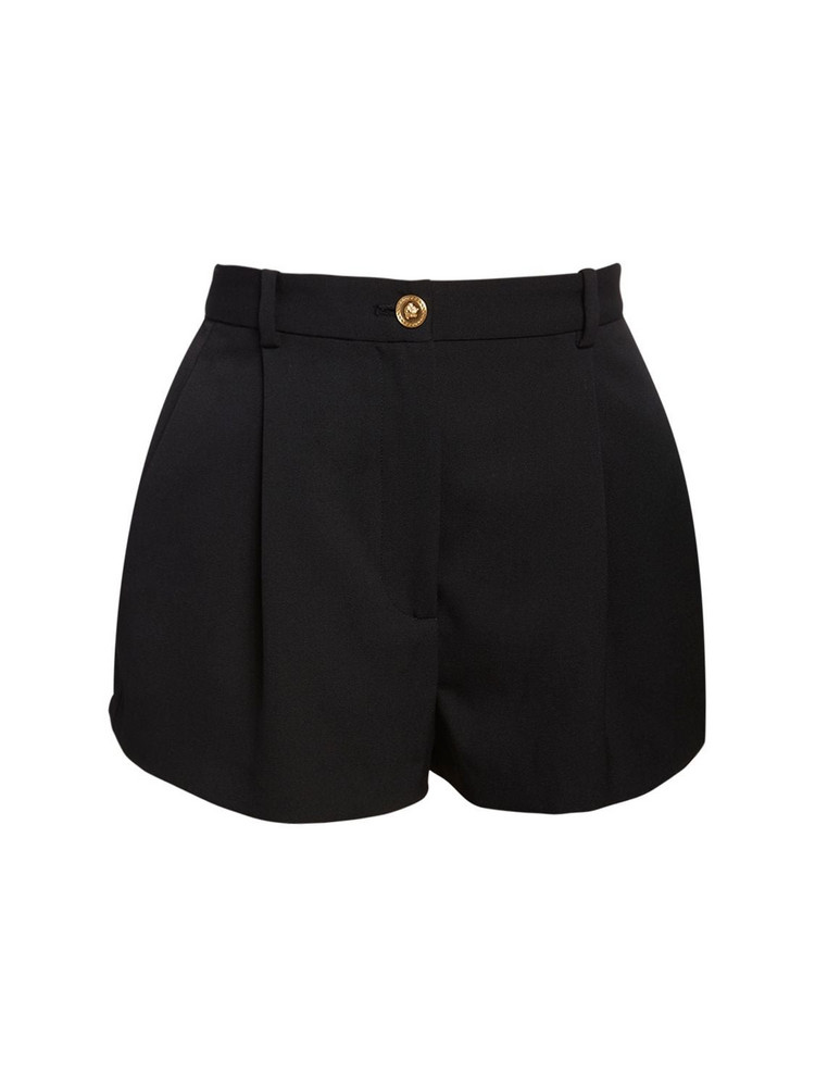 VERSACE High Waist Wool Gabardine Shorts in black
