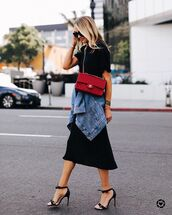 skirt,black skirt,midi skirt,black sandals,denim jacket,black t-shirt,black bag,chanel bag